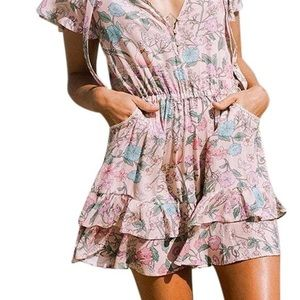 Spell & The Gypsy Collective Dresses - Spell Sayulita Mini Dress Musk Floral S Zimmermann